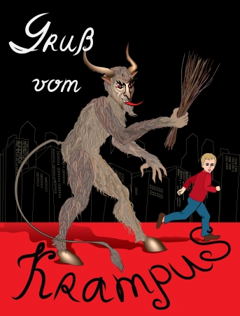 levitation: Austrian Krampus Christmas card
