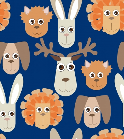 seamless gentle background from naive drawn toys rabbit dog lion cat elk  Vector