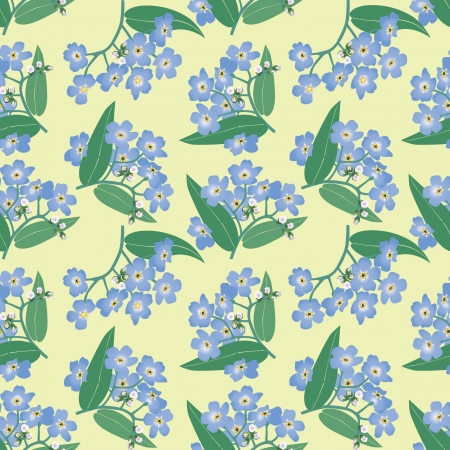 floral seamless pattern with blue flowers forget-me-not Vector