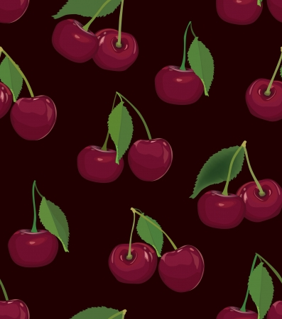 cherry seamless pattern, ripe berry on black background  Stock Vector - 17237958