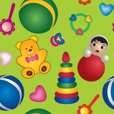 baby care seamless pattern  baby toy  background, children s toys Stock Vector - 17237964