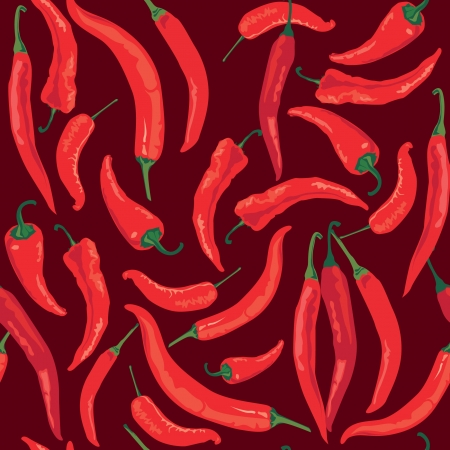 seamless pattern with hot Chile pepper on brown background Vector