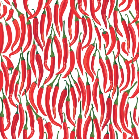 seamless pattern with hot Chile pepper on white background Stock Vector - 17237950