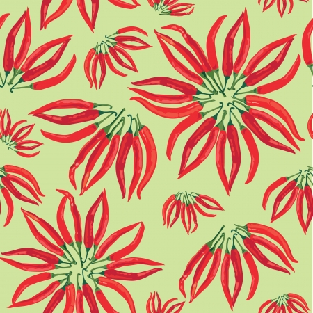 seamless pattern with hot chilly pepper on light green background Stock Vector - 17237954