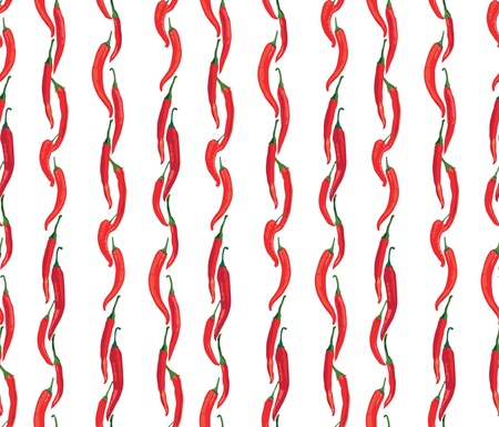 seamless pattern with hot Chile pepper on white background Stock Vector - 17237949