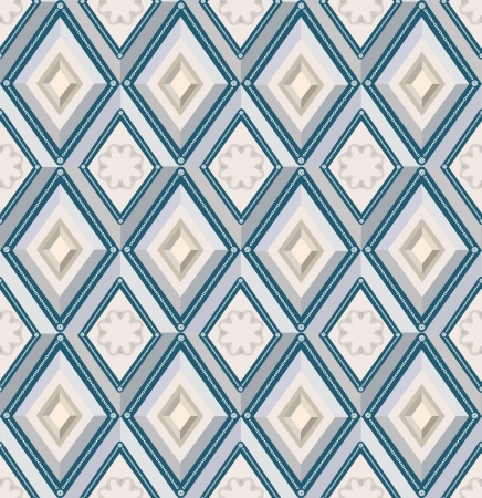 fantail: abstract seamless pattern with blue and beige diamonds