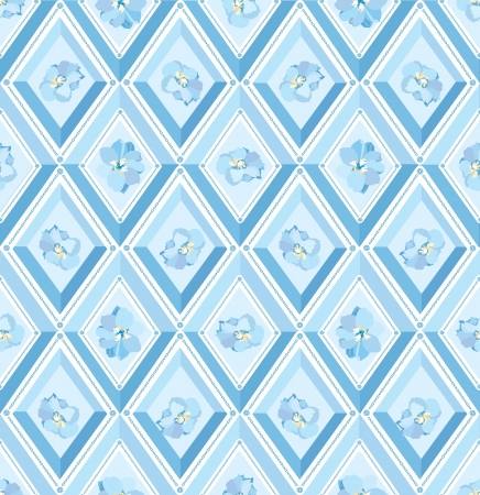 seamless pattern with flowers and blue diamonds  Vector