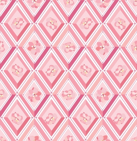 seamless pattern with flowers and pink diamonds  Vector