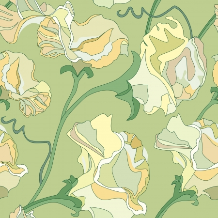 floral seamless pattern with gentle light yellow flowers sweet peas  Vector