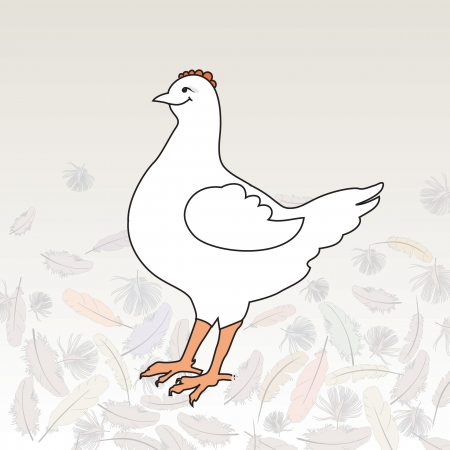 Happy white hen, surrounded by feathers  Vector illustration  Vector