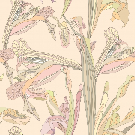 seamless vector background from gentle outline flowers iris on beige backdrop  Vector