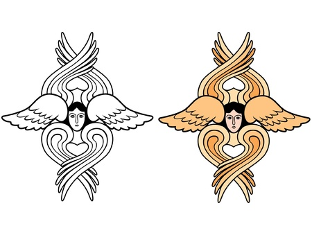 aureole: seraphim outline and color vector illustration