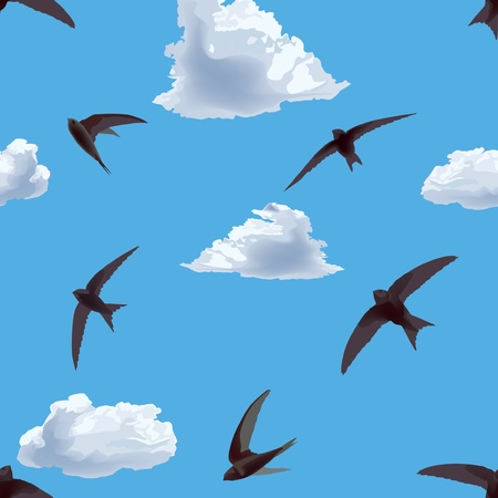 seamless background with flying swifts in the sky Vector