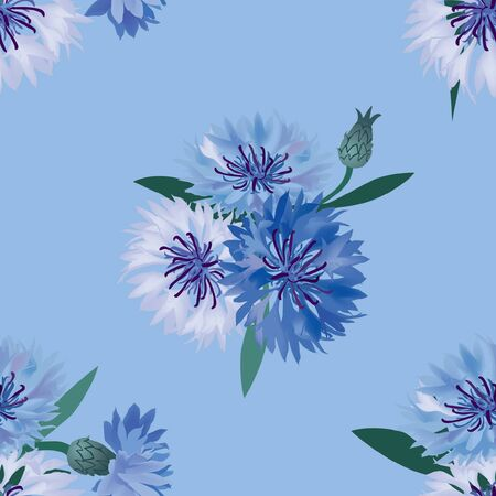 dusty: seamless pattern with bouquets  cornflower background