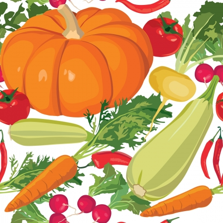 seamless background from ripe autumn vegetable Stock Vector - 17203893