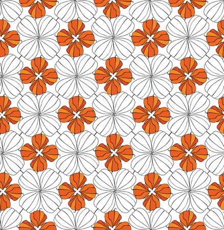 Abstract seamless background of flowers and geometric shapes  Vector