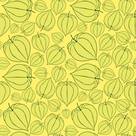 winter cherry: seamless pattern with winter cherry on yellow background