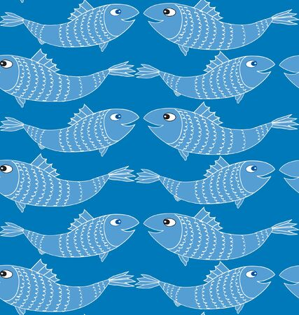 fish seamless pattern  blue background Vector