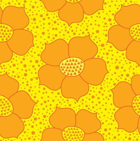 Ornamental seamless pattern with yellow flowers Stock Vector - 17248093