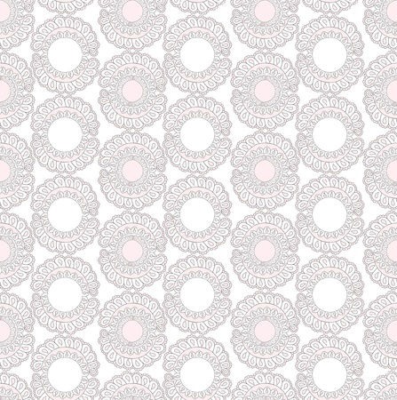 Abstract lacy seamless background with floral and geometric shapes Vector