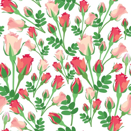 floral pattern  Roses seamless background  Vector