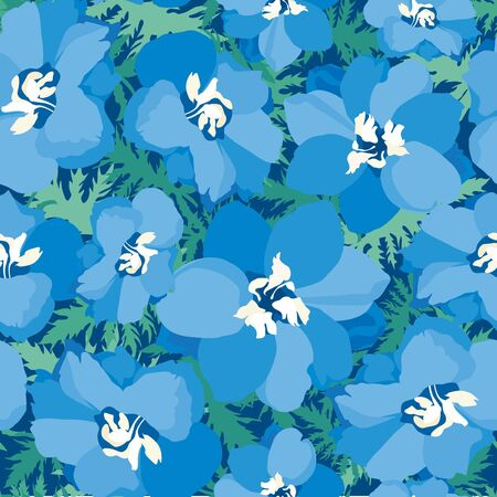 floral seamless background  pattern with blue flowers delphinium  Vector
