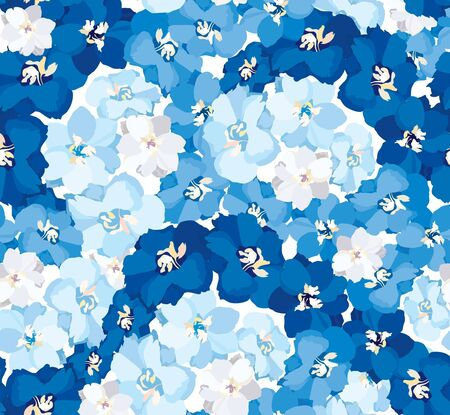 seamless vector background from white, blue and dark blue flowers delphinium  Vector