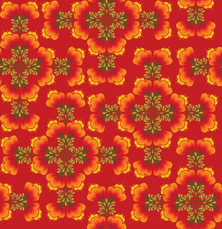 floral seamless pattern with flowers on red in russian style  Vector