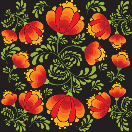 floral seamless pattern with flowers on black in russian style Stock Vector - 17260148