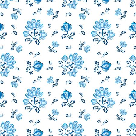 seamless pattern with flower bouquet ornament on white background in russian style  Vector