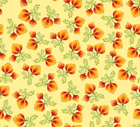 floral seamless pattern with flowers on yellow in russian style Vector
