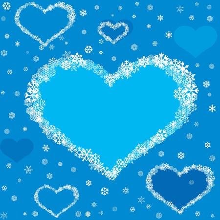 snow flakes: naadloze patroon met hartjes van blauwe sneeuwvlokken, achtergrond