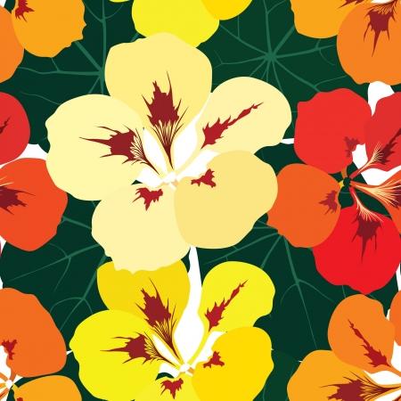 nasturtium: flower seamless pattern background with multicolor bouquet of flowers nasturtium