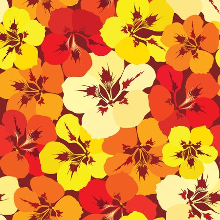 seamless pattern background with yellow, lilac, red and orange flowers Vector