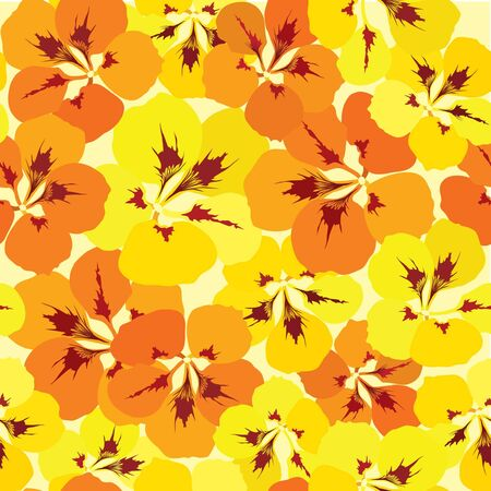seamless pattern with red, orange, purple and vinous flowers  Vector