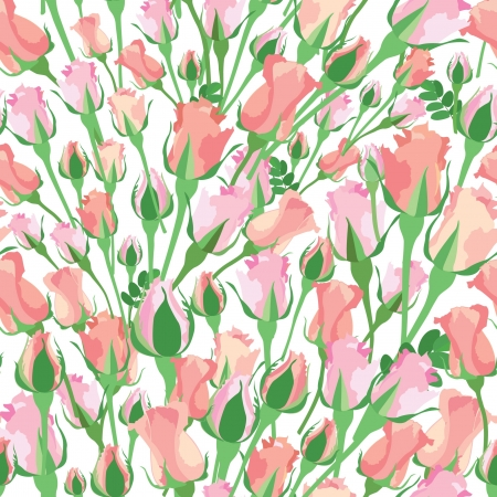 roses garden: flower seamless background with pink and red roses on white