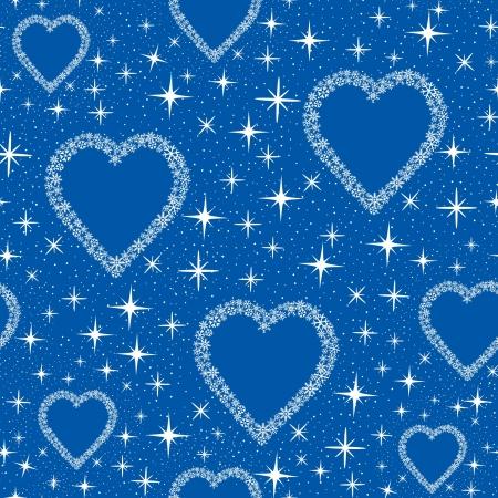 snow flakes: naadloze patroon met hartjes van blauwe sneeuwvlokken, achtergrond afdrukken