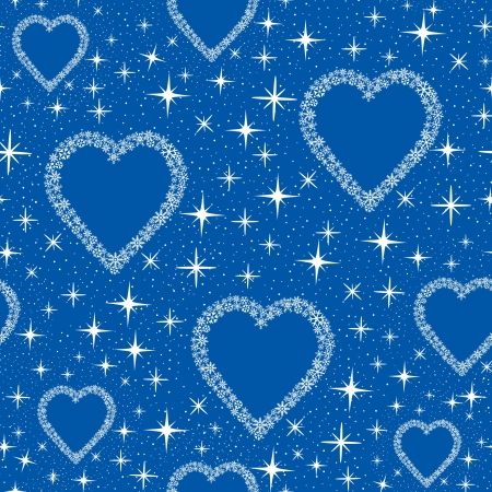 seamless pattern with hearts from blue snow flakes, background print  Vector