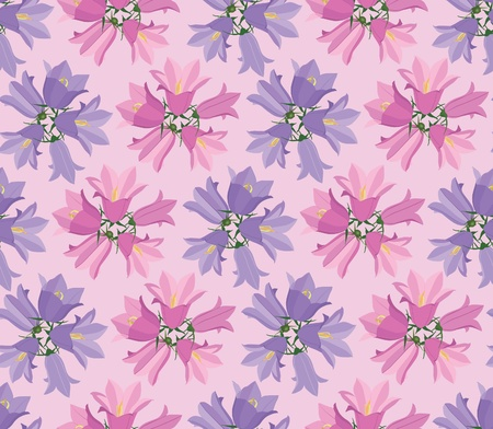 floral seamless pattern background with bluebells flowers Vector