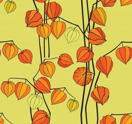 autumn white winter cherry bouquet seamless floral background  Vector