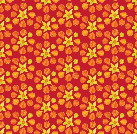 winter cherry: Abstract autumn floral ornamental seamless pattern with winter cherry Illustration