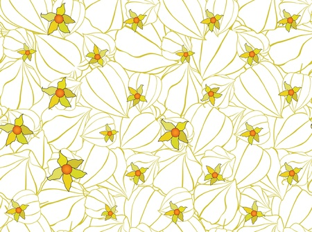 Abstract autumn floral ornamental seamless pattern with winter cherry Vector