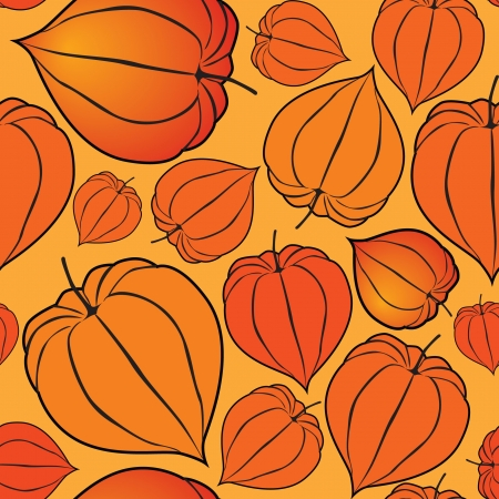 Abstract autumn floral seamless background with winter cherry Vector