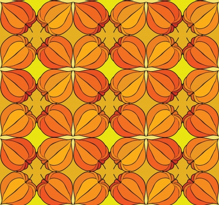 Abstract autumn floral ornamental seamless pattern with winter cherry Stock Vector - 17279149