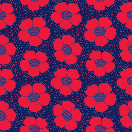 abstract floral seamless pattern with red ornamental flowers backgroud Stock Vector - 17279987
