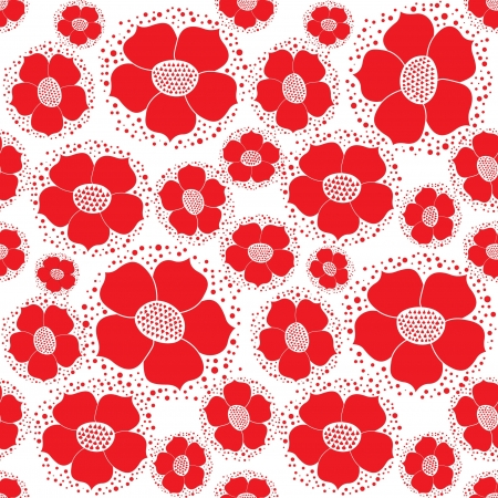 abstract floral seamless pattern with red ornamental flowers backgroud Stock Vector - 17279998