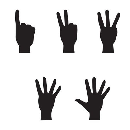 four hands: Hands - finger count collection  Vector gestures icons  Computer icon set