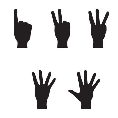 ballen: Hands - Finger z�hlen Sammlung Vector Gesten Symbole Symbol gesetzt Illustration