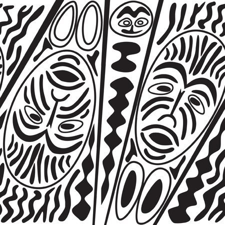 african seamless black and white pattern  Border with masks in ethnic theme  Vector