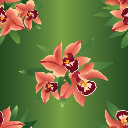 Floral seamless pattern with flowers orchids  Stock Vector - 17280294